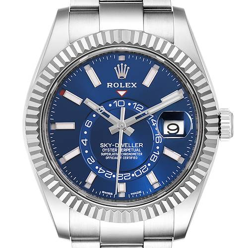 Photo of Rolex Sky-Dweller Blue Dial Steel White Gold Mens Watch 326934 Box Card