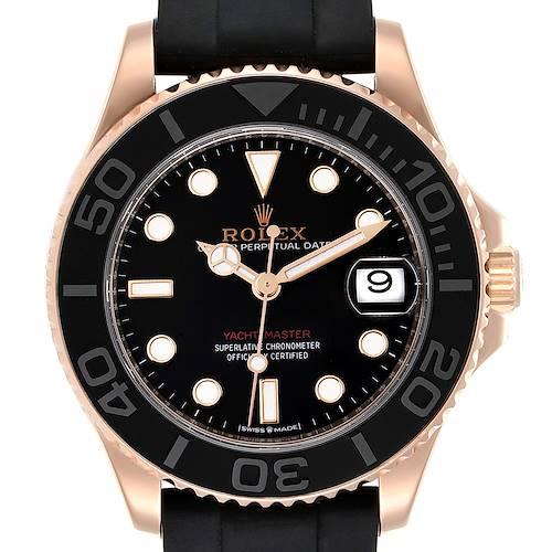 Photo of Rolex Yachtmaster 37 18K Everose Gold Rubber Strap Watch 268655 Unworn