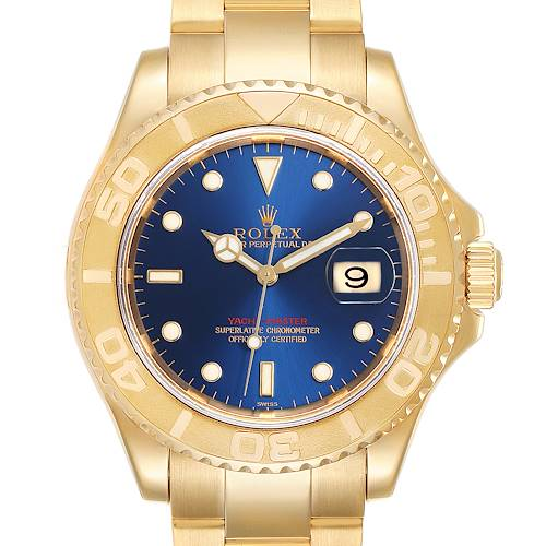 Photo of Rolex Yachtmaster 40mm Yellow Gold Blue Dial Mens Watch 16628 Box Papers