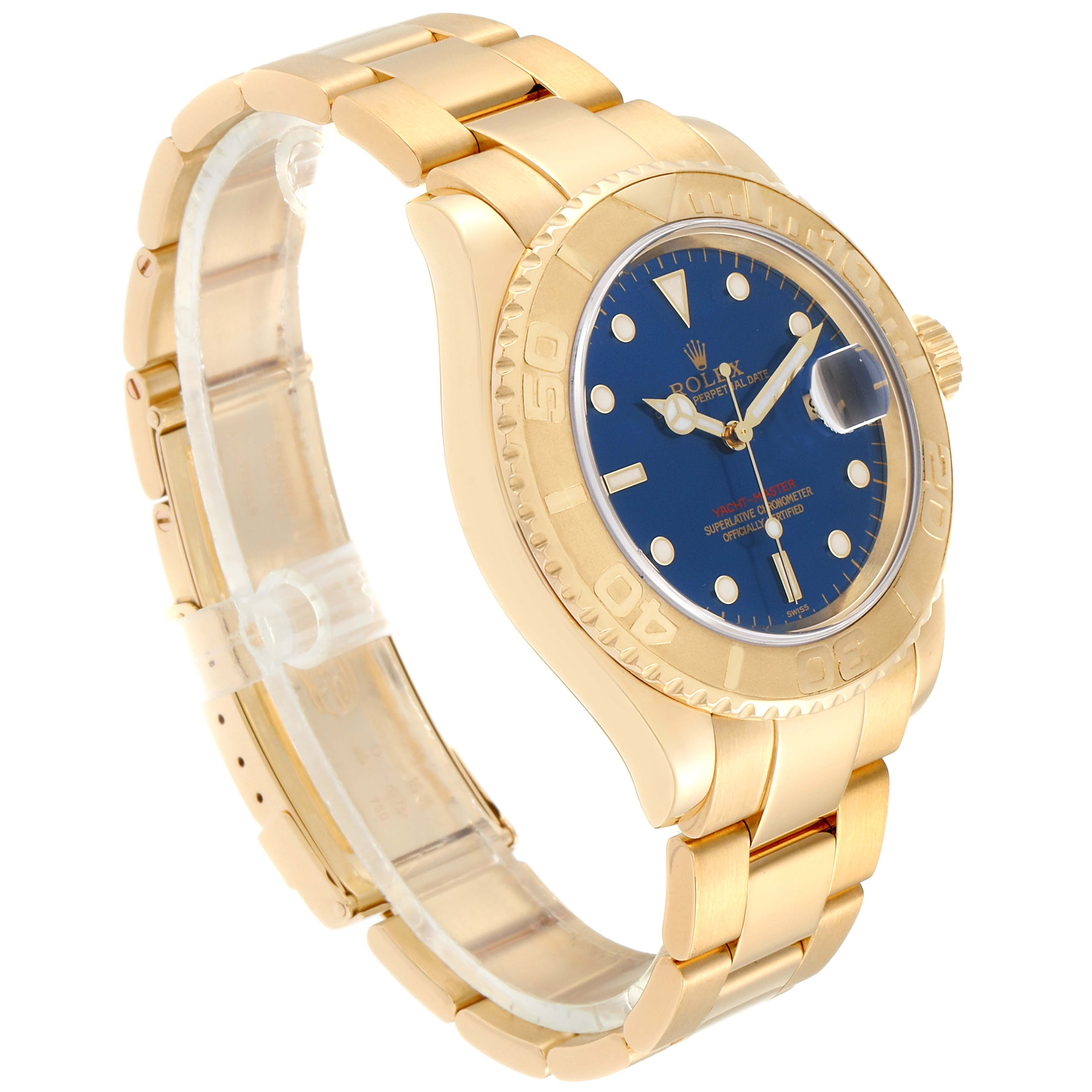 Rolex Yachtmaster 40mm Yellow Gold Blue Dial Mens Watch 16628 Box Papers SwissWatchExpo