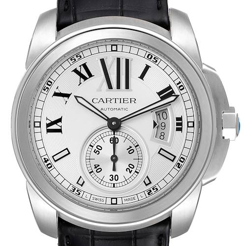 Photo of Cartier Calibre Silver Dial Stainless Steel Mens Watch W7100037 Box Papers