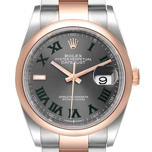 Photo of Rolex Datejust 36 Steel EveRose Gold Wimbledon Dial Mens Watch 126201 Unworn
