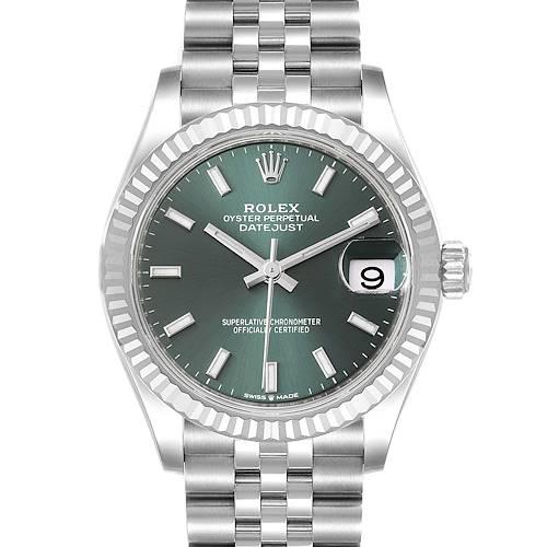 Photo of Rolex Datejust Midsize Steel White Gold Mint Green Dial Watch 278274 Unworn