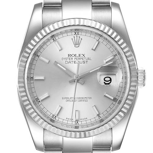 Photo of Rolex Datejust Steel White Gold Silver Dial Mens Watch 116234