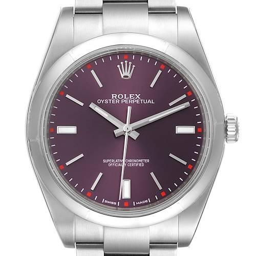 Photo of Rolex Oyster Perpetual Red Grape Dial Steel Mens Watch 114300 Unworn