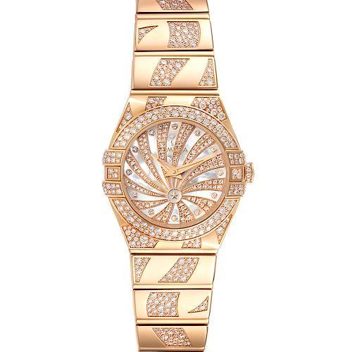 Photo of Omega Constellation Diamanten Rose Gold Diamond Ladies Watch 123.55.24.60.55.011 Unworn