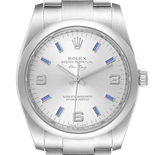 Photo of Rolex Air King Silver Dial Blue Hour Markers Steel Mens Watch 114200 Box Card