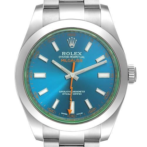 Photo of Rolex Milgauss Steel Blue Dial Green Crystal Mens Watch 116400 Box Card