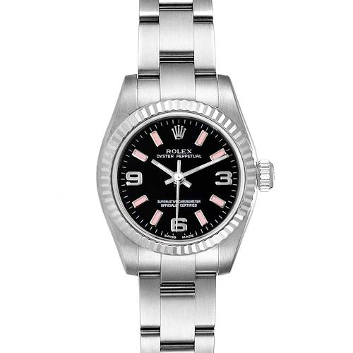 Photo of Rolex Nondate Steel White Gold Black Dial Ladies Watch 176234 Box Card