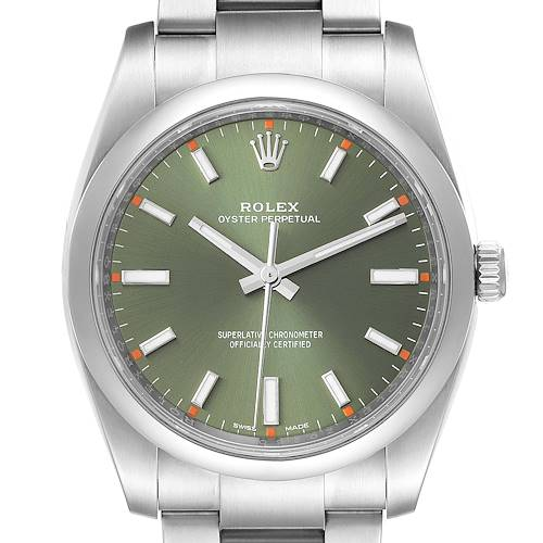 Photo of Rolex Oyster Perpetual 34mm Steel Olive Green Dial Mens Watch 114200