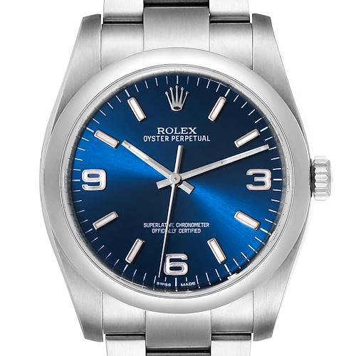 Photo of Rolex Oyster Perpetual 36mm Steel Blue Dial Mens Watch 116000
