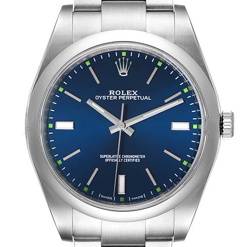 Photo of Rolex Oyster Perpetual 39mm Blue Dial Steel Mens Watch 114300 Box Card