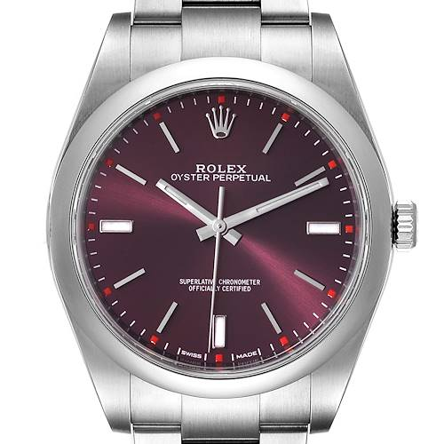 Photo of Rolex Oyster Perpetual Red Grape Dial Steel Mens Watch 114300