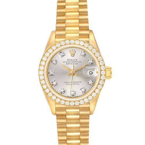 Photo of Rolex President Datejust Yellow Gold Silver Diamond Dial Ladies Watch 69138