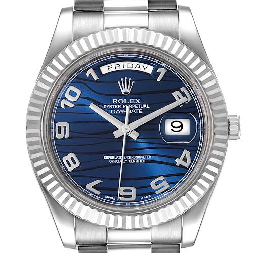 Photo of Rolex President Day-Date II White Gold Blue Dial Mens Watch 218239 Box Card