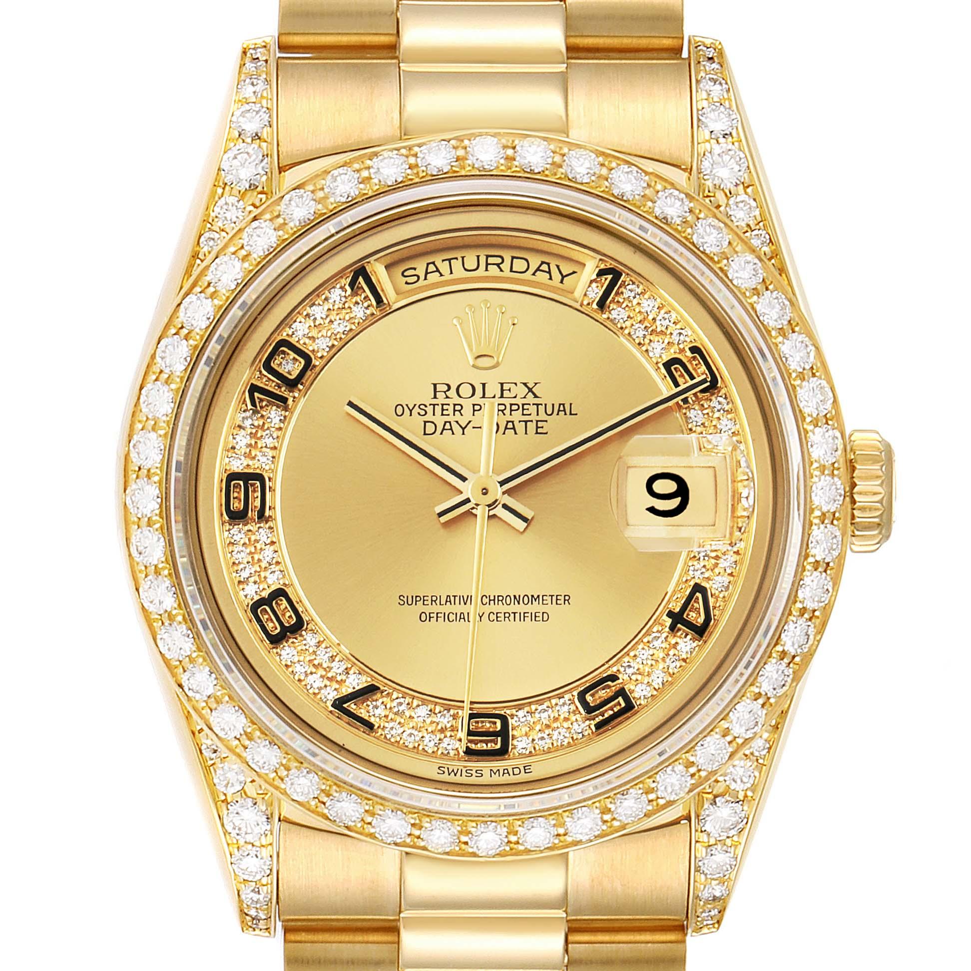Rolex President Day-Date Yellow Gold Myriad Diamond Mens Watch 18388 SwissWatchExpo