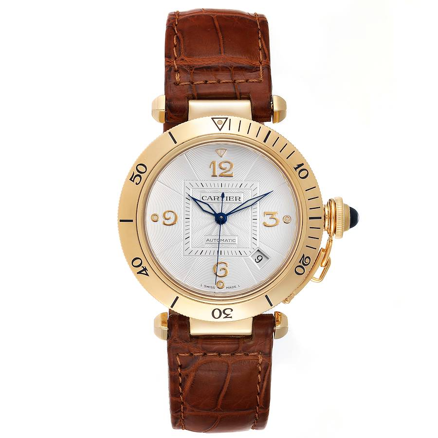 Cartier Pasha 38mm Silver Dial 18K Yellow Gold Mens Watch W3004856 SwissWatchExpo