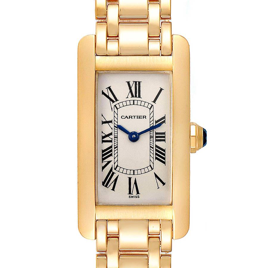 Cartier Tank Americaine 18K Yellow Gold Ladies Watch W26015K2 SwissWatchExpo
