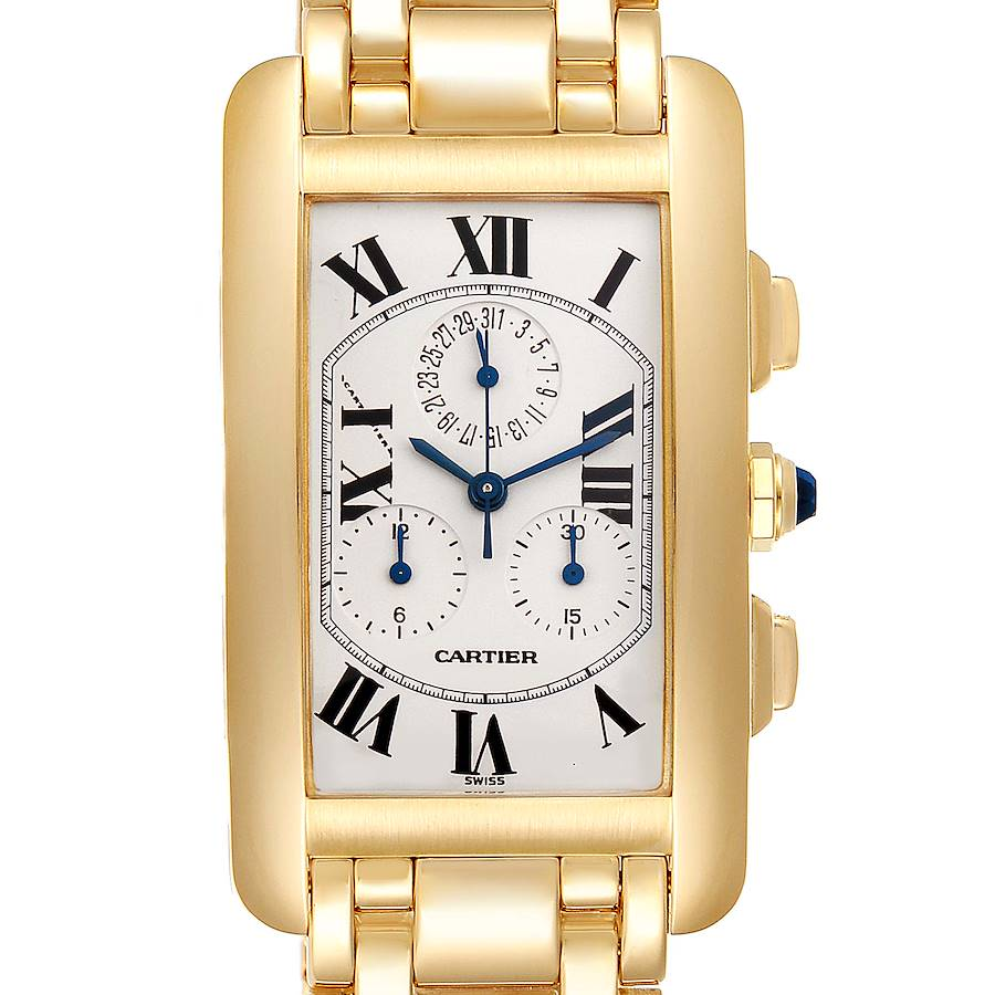 Cartier Tank Americaine Chronograph Yellow Gold Mens Watch W2601156 SwissWatchExpo