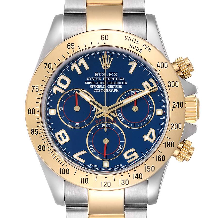 Rolex Daytona Steel Yellow Gold Blue Racing Dial Mens Watch 116523 Box Card SwissWatchExpo