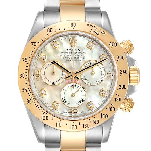Photo of Rolex Daytona Yellow Gold Steel MOP Diamond Watch 116523 Box Papers