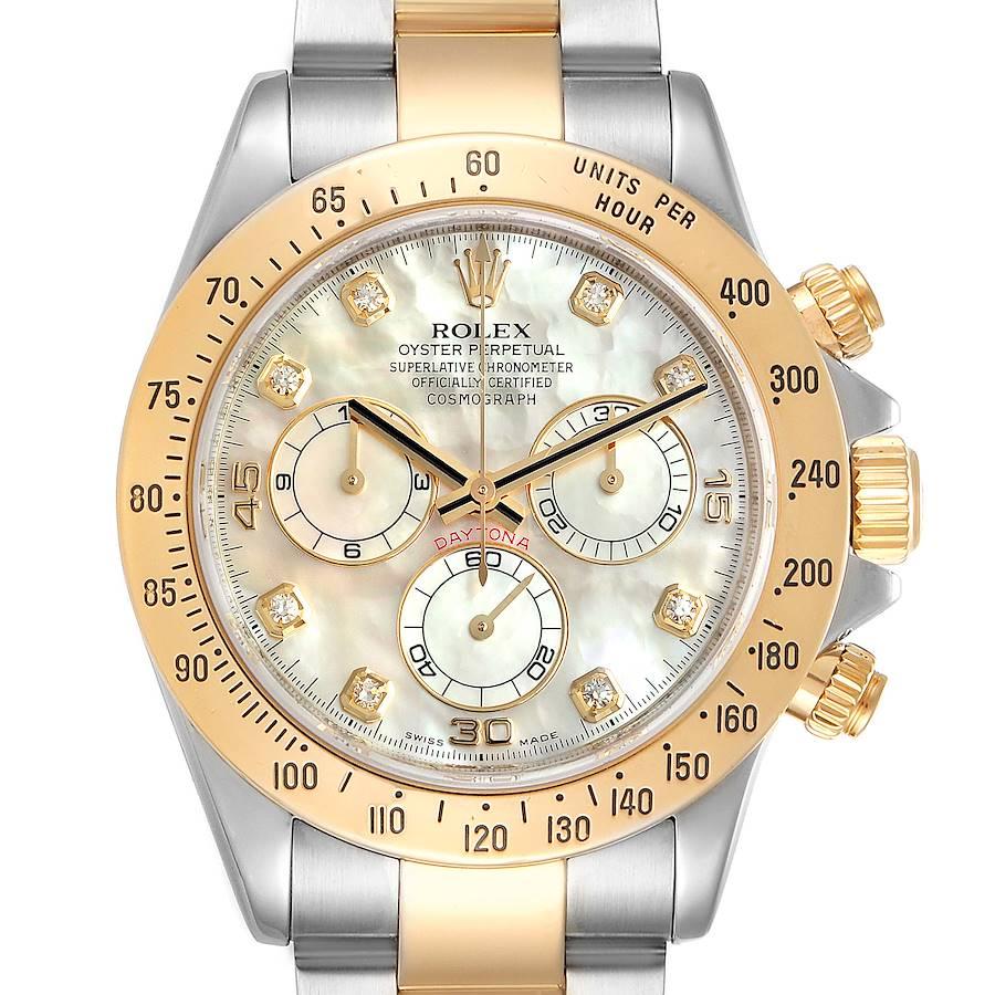 Rolex Daytona Yellow Gold Steel MOP Diamond Watch 116523 Box Papers SwissWatchExpo