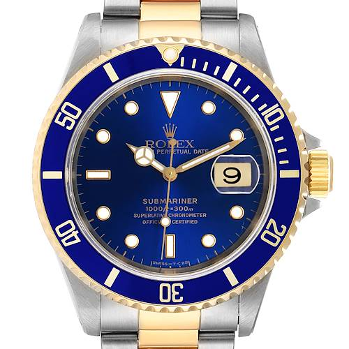 Photo of Rolex Submariner 40mm Blue Dial Steel Yellow Gold Mens Watch 16613 Box Papers