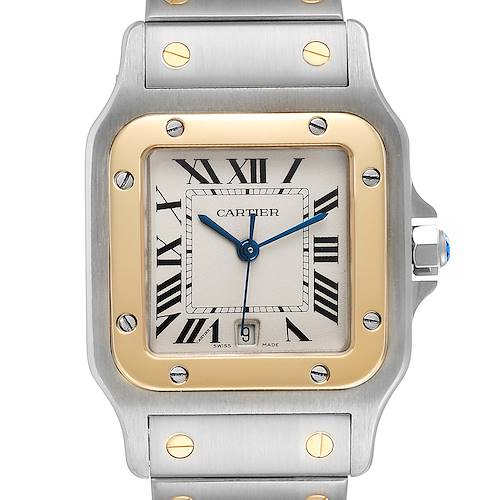 Photo of Cartier Santos Galbee Large Steel Yellow Gold Unisex Watch W20011C4 Box Card