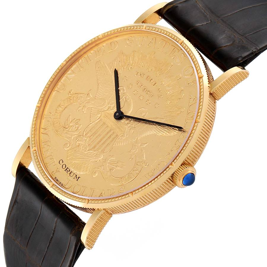 Corum 20 Dollars Double Eagle Yellow Gold Coin Manual Mens Watch SwissWatchExpo
