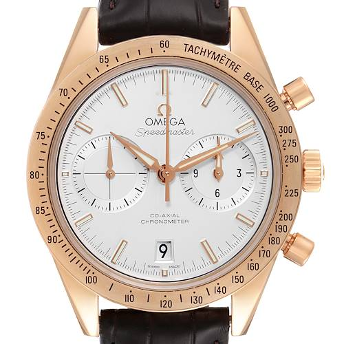Photo of Omega Speedmaster 57 Rose Gold Silver Dial Watch 331.53.42.51.02.002 Box Card