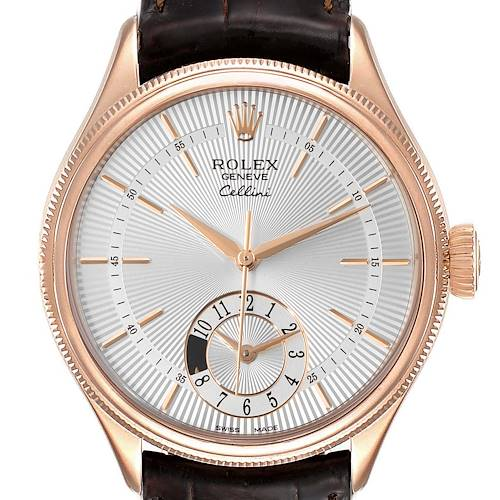 Photo of Rolex Cellini Dual Time Everose Rose Gold Automatic Mens Watch 50525 Box Card