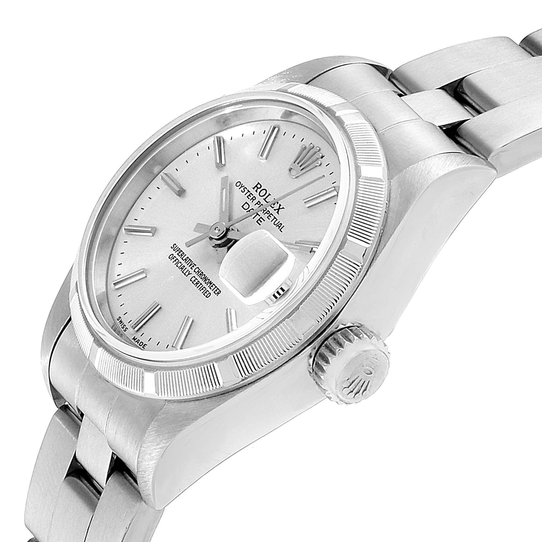 Rolex Date Silver Dial Oyster Bracelet Steel Ladies Watch 79190 SwissWatchExpo