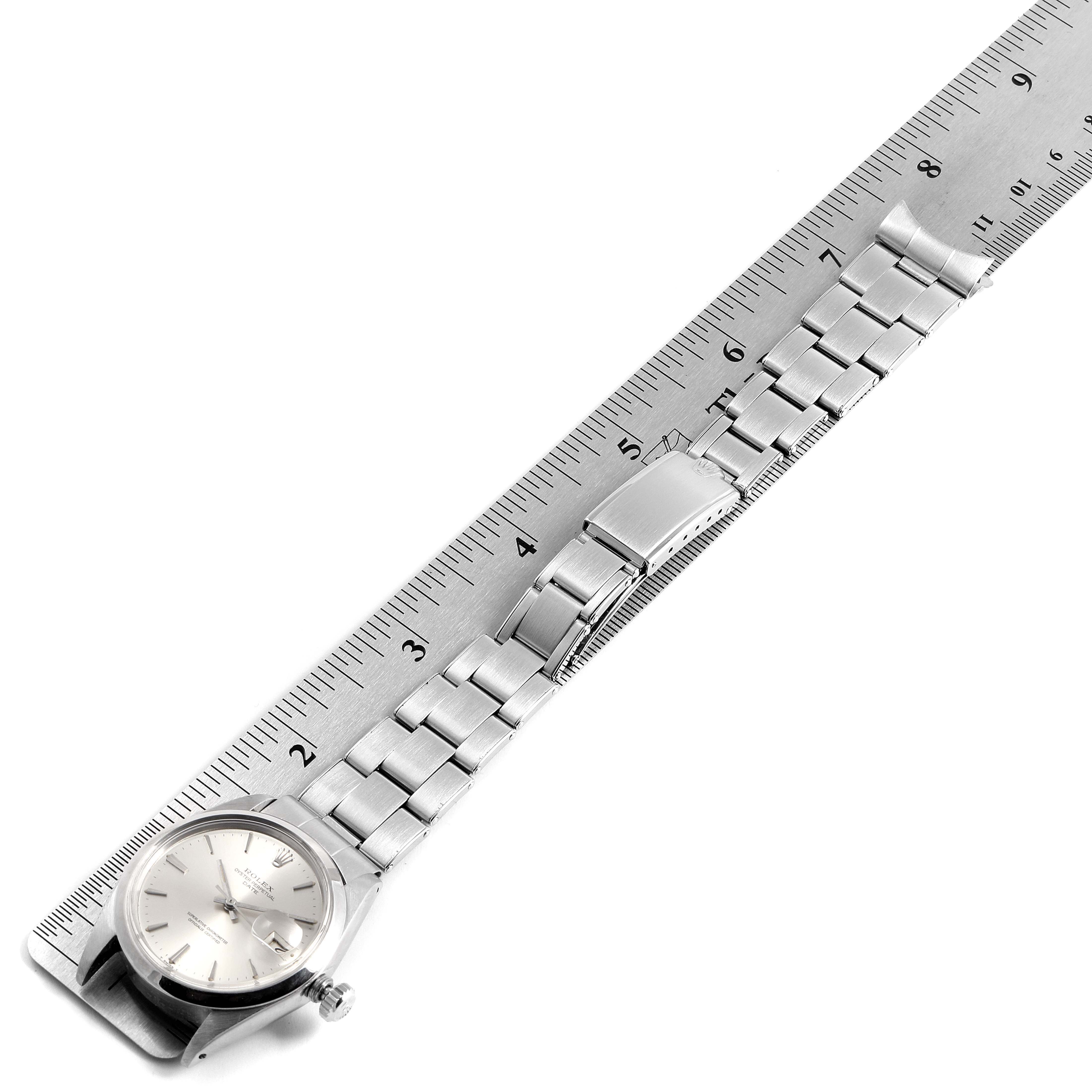 Rolex Date Stainless Steel Silver Dial Vintage Mens Watch 1500 SwissWatchExpo