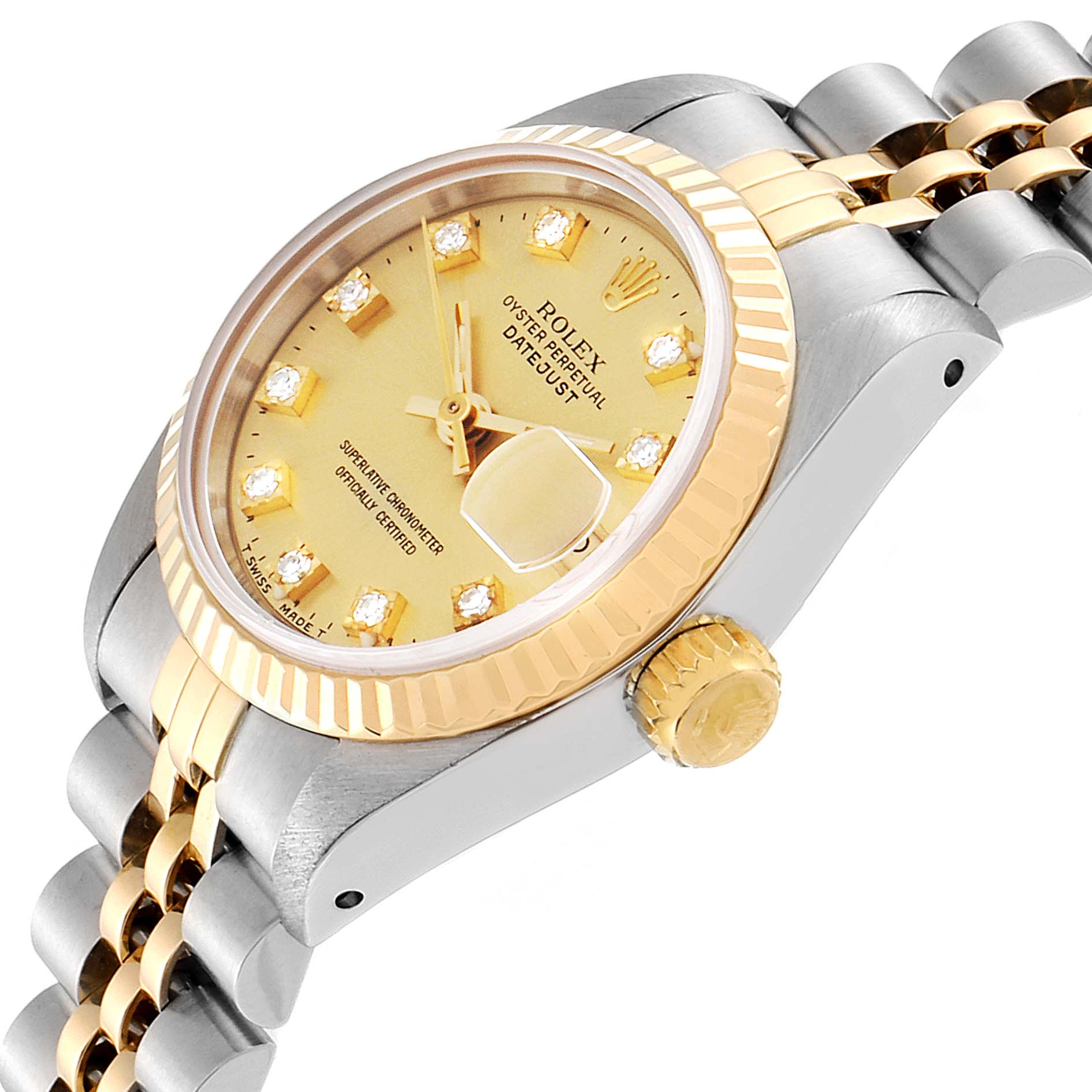 Rolex Datejust 26mm Steel Yellow Gold Diamond Ladies Watch 69173 Box Papers SwissWatchExpo