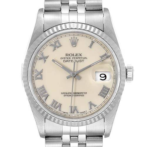 Photo of Rolex Datejust 36 Steel White Gold Fluted Bezel Ivory Dial Mens Watch 16234