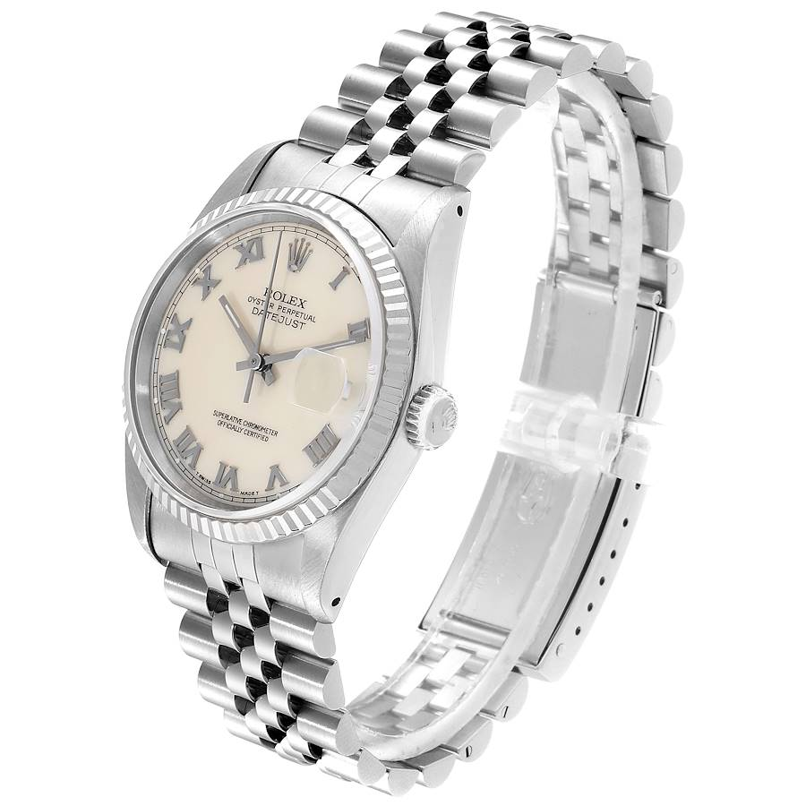 Rolex Datejust 36 Steel White Gold Fluted Bezel Ivory Dial Mens Watch 16234 SwissWatchExpo