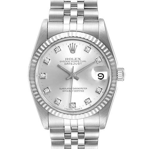 Photo of Rolex Datejust Midsize Steel White Gold Diamond Dial Ladies Watch 68274