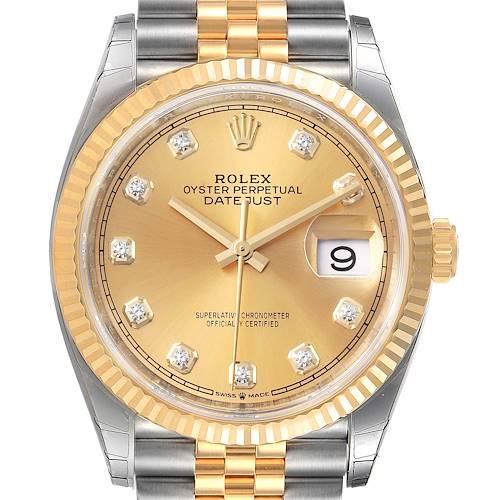 Photo of Rolex Datejust Steel Yellow Gold Diamond Dial Mens Watch 126233 Unworn