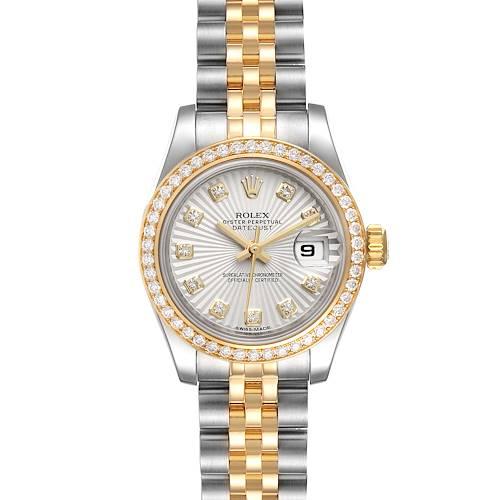 Photo of Rolex Datejust Steel Yellow Gold Sunbeam Dial Diamond Ladies Watch 179383