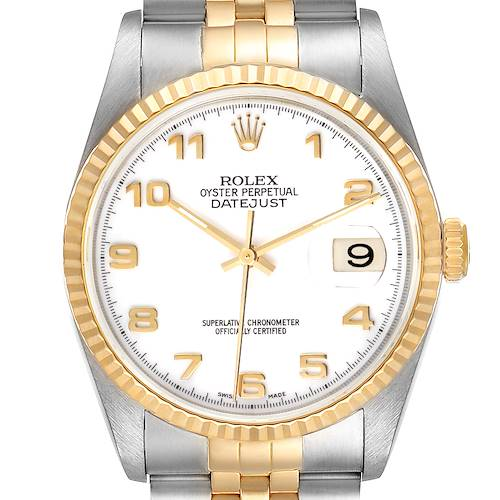 Photo of Rolex Datejust Steel Yellow Gold White Arabic Dial Mens Watch 16233