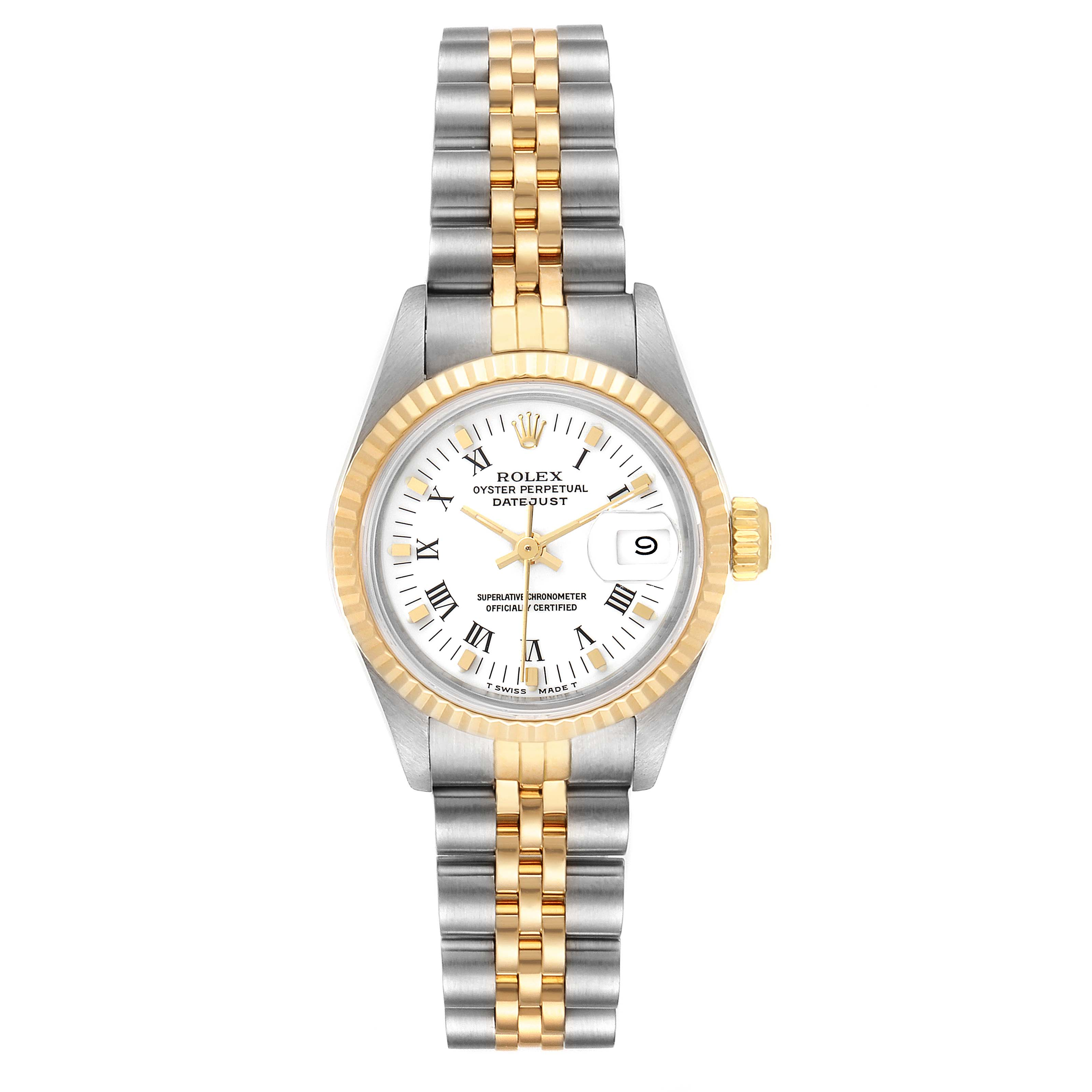 Rolex Datejust Steel Yellow Gold White Dial Ladies Watch 69173 Box SwissWatchExpo