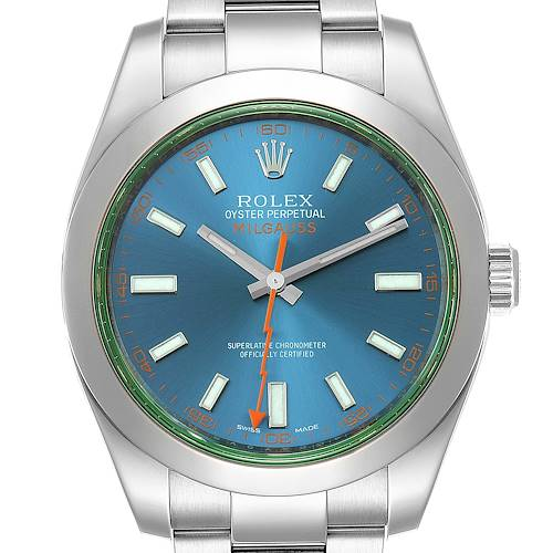 Photo of Rolex Milgauss Blue Dial Green Crystal Steel Mens Watch 116400