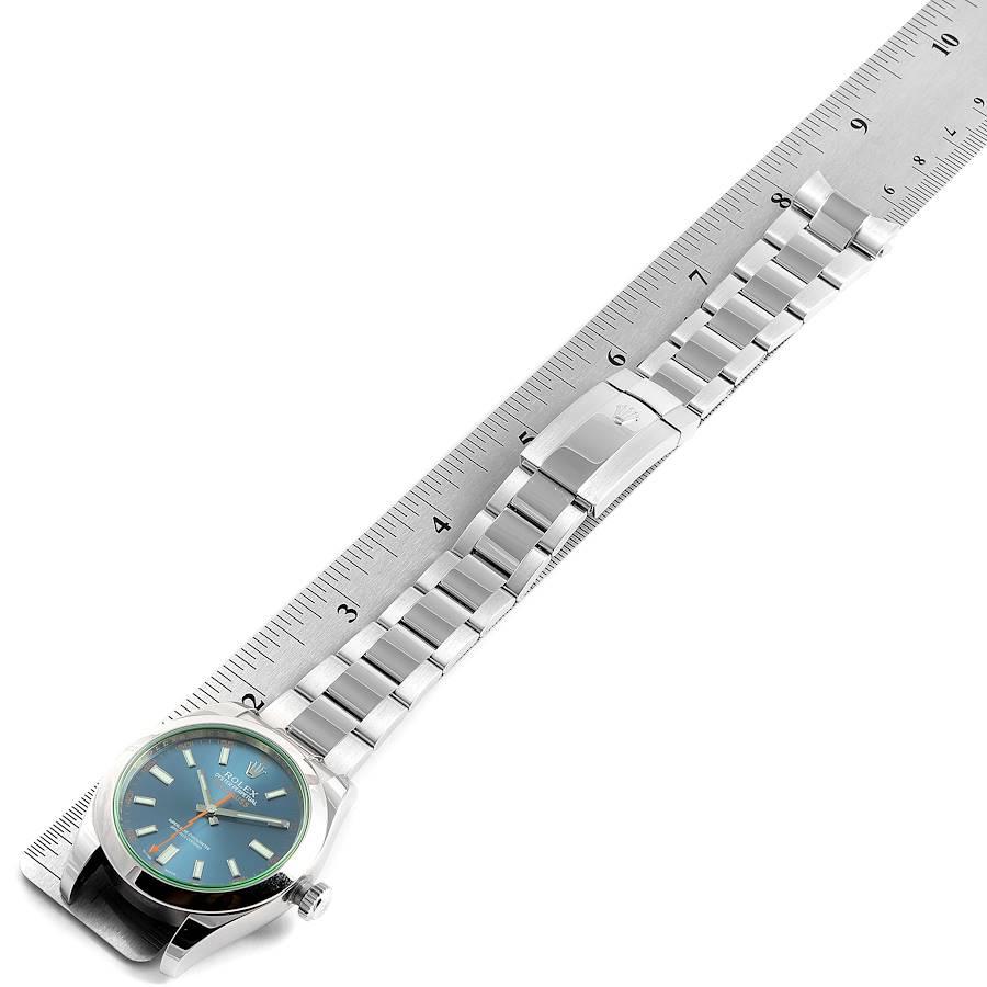 Rolex Milgauss Blue Dial Green Crystal Steel Mens Watch 116400 SwissWatchExpo