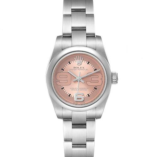 Photo of Rolex Nondate Steel Salmon Dial Oyster Bracelet Ladies Watch 176200 Box Card