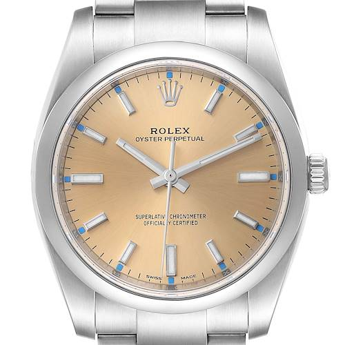 Photo of Rolex Oyster Perpetual 34mm White Grape Dial Steel Mens Watch 114200 Box Card