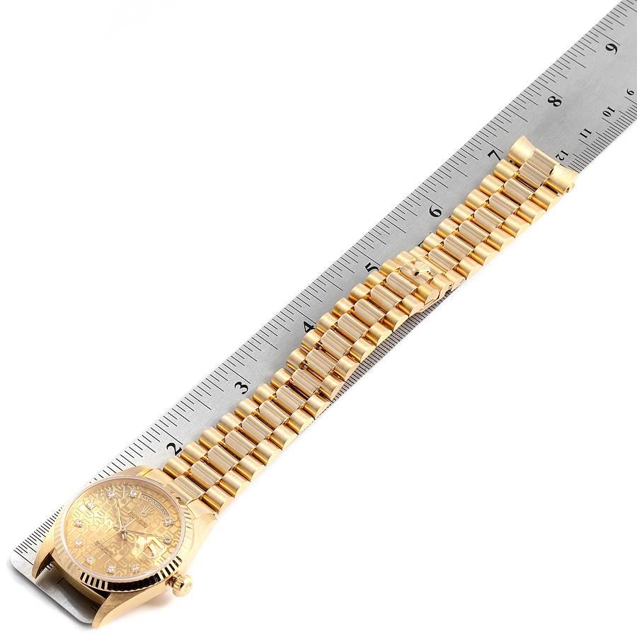 Rolex President Day-Date 36mm Yellow Gold Diamond Mens Watch 18238 SwissWatchExpo