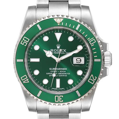 Photo of Rolex Submariner Hulk Green Dial Bezel Mens Watch 116610LV Box Card