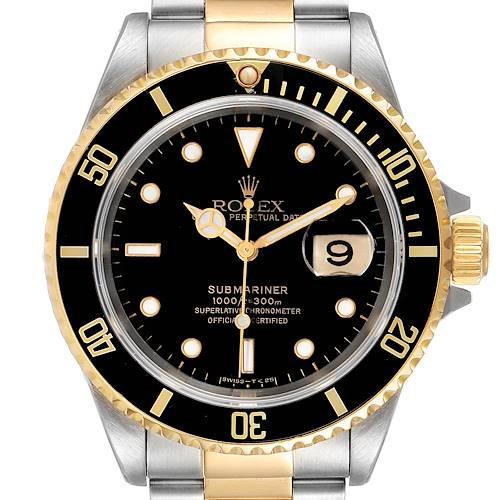 Photo of Rolex Submariner Steel Yellow Gold Black Dial Mens Watch 16613