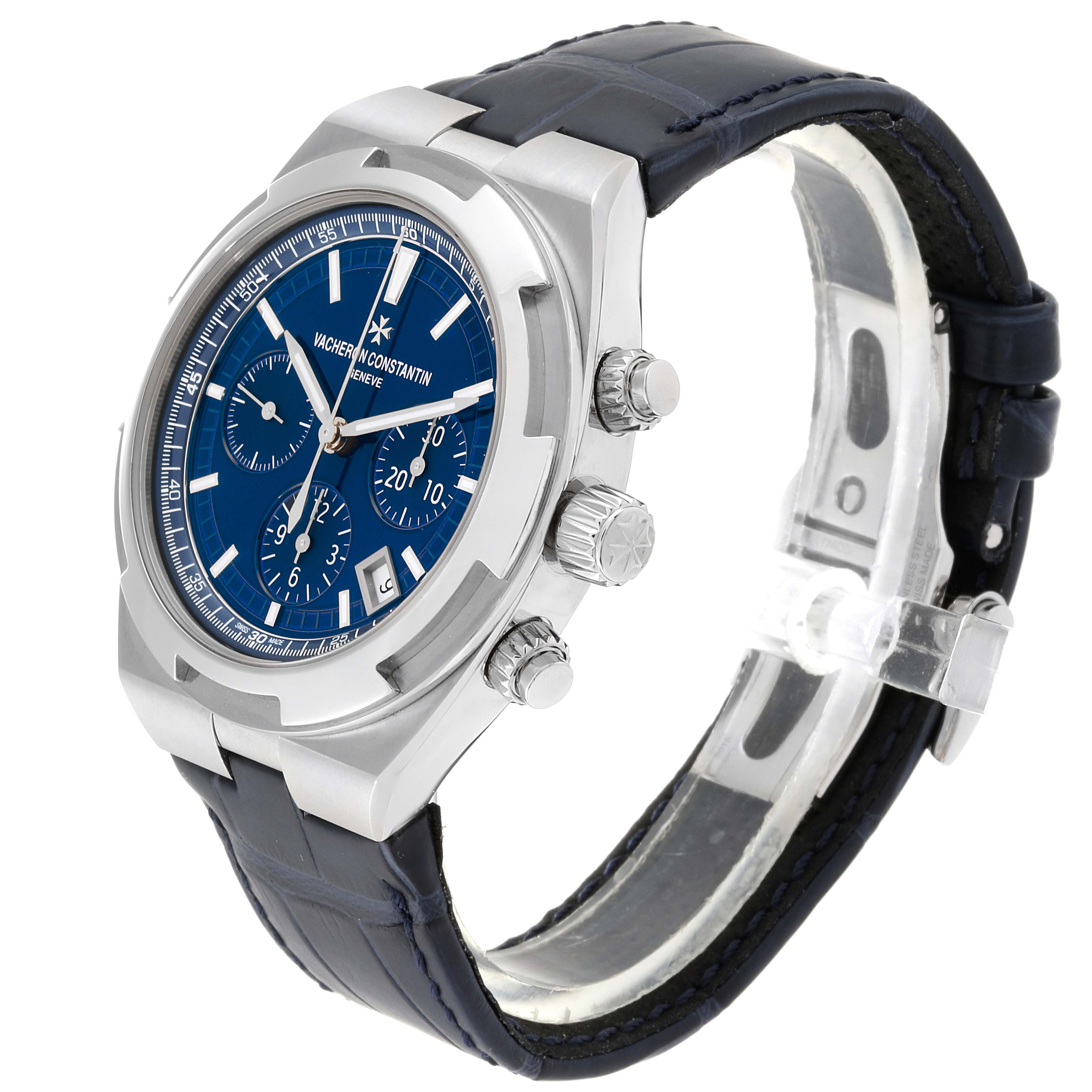 Vacheron Constantin Overseas Blue Dial Chronograph Watch 5500V Box Papers SwissWatchExpo