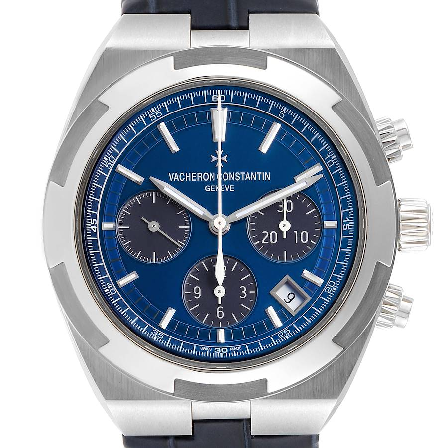 Vacheron Constantin Overseas Blue Dial Chronograph Watch 5500V Box Papers SwissWatchExpo